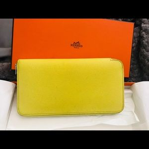 Authentic Hermes Leather zip wallet